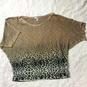 Cache Leopard Print Dolman Sleeves size Small